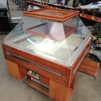 vitrina - isla refrigerada Tecfrigo Oasi 1/1 para catering, con la cúpula motorizada. 1075x1075x1710 mm